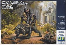 "1:24 Masterbox 24008 - ""World of Fantasy"" - Kit #2 Girl Riding Reptile Model Kit"