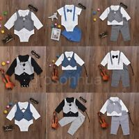 2pcs Newborn Infant Baby Boy Kids Shirt Tops+Pants Clothes Outfits Gentleman Set
