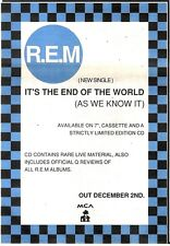 """7/12/91 Pgn08 Advert: R.e.m The New Single its The End Of The World 10x7"""""""