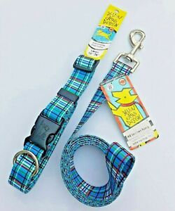 """Blue Tartan Collars and Leads by Yellow Dog Design - Adjustable, XS-L, 48"""" Leads"""