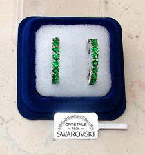 Orecchini da donna oro bianco 18K zirconi cristalli swarovski veri SW7/1 verde