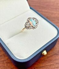 ANTIQUE 14K OLD MINE CUT DIAMOND CLUSTER .65CTTW & 1CT FIRE OPAL RING SIZE 5