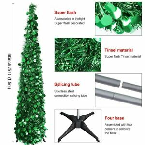 5ft Collapsible Artificial Christmas Tree Tinsel Sequins Pop up Tree with Stand