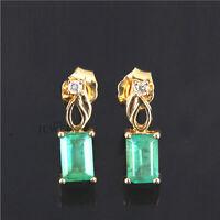14K Gold Genuine Diamond And Emerald Gemstone Wedding Stud Earrings Fine Jewelry