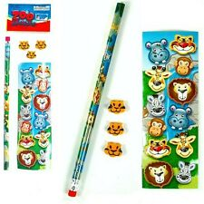 72 x WILD ZOO ANIMAL STATIONERY SETS ~ STICKERS PENCIL ERASERS  PARTY BAG FILLER