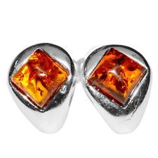 2g Authentic Baltic Amber 925 Sterling Silver Earrings Jewelry N-A5232