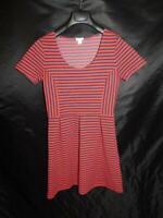 J Crew Size 6 Red Navy Blue Stripe Scoop Neck Dress Short Sleeve Above Knee sm
