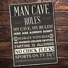 Man Cave Rules Sign Funny Father's Day Gift Man Cave Shed Signs Grandad Presents