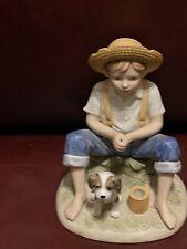 Boy & Dog Porcelain Figurine; Homco; 1466 Home Interior Figurine Missing Pole