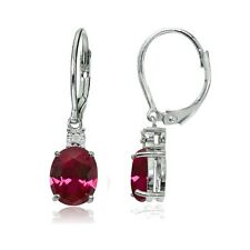 Sterling Silver Created Ruby and Diamond Accent Oval Dangling Leverback Earrings