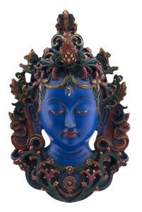 Statue tibétaine Visage Tara resine 30 cm -Lapis lazuli Top Qualité Nepal 5946