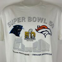 New Carolina Panthers Denver Broncos Large T Shirt Super Bowl 50 NFL Football