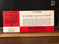 Vintage Advertising Ink Blotter WWII 1942 Westinghouse Elevator Buy War Bonds