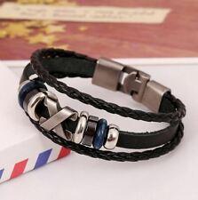 Bracelet pour Homme & Femme en Cuir Corde Tressé Noir Fermoir Acier #1