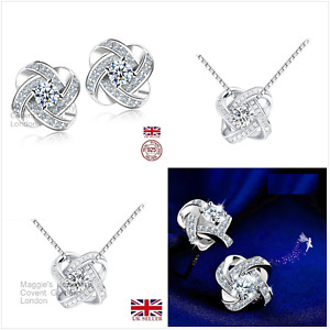 UK Gift Boxed CZ Shimmering Knot Sterling Silver Jewellery Set