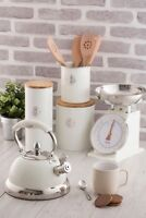 Typhoon Living Tea Coffee Sugar, Bread Bin, Kettle, Scales, Storage Tins - Cream