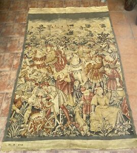 Antique French Aubusson Print Style Wall Hanging Tapestry With Date 135 X 220 Cm