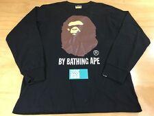 A Bathing Ape BAPE Big Head Logo Long Sleeve Tee Shirt Sz M Black Brown White