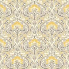 Silver Grey Yellow Retro Wallpaper Damask Vintage Flora Nouveau Metallic Crown