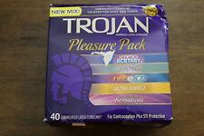 New Damaged Box - TROJAN Pleasure Pack, 40 Assorted Condoms-  Exp. 04/2022