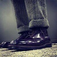 Men's Winter British Retro Straight Trousers Herringbone Pattern 70% Wool Pants
