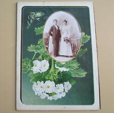 Antique cabinet card photo, wedding couple, album page, 1890s