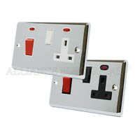 Polished Chrome Classical Cooker Control Unit with Neon - 45A Cooker Socket