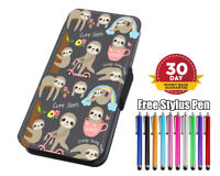 Cute Baby Sloth Pattern Flip Leather Phone Case for iPhone Samsung Huawei