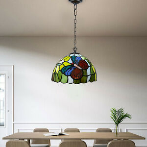 Tiffany Style Butterfly design Pendant Lamps Stained Glass Shade Home Decoration