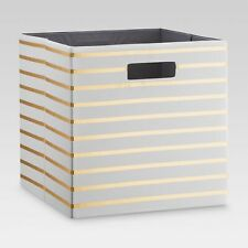 "13"" Cube Storage Bin White Gold Stripes"