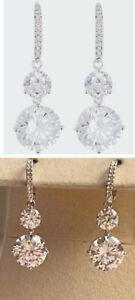 Nadri CZ Dangle Drop Earrings, Silvertone, NWT $40