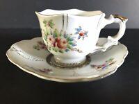 Vintage Demitasse Cup and Saucer Set Hand painted Floral  Pink Gold Japan