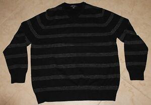CHEROKEE Black and Light Gray Striped V-Neck Long Sleeve Sweater