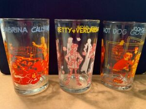 Lot of 3 Vintage 1970s Archie Welch's Jelly Glasses - Sabrina, Veronica, Hot Dog