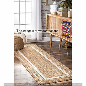 Indian Hand Braided Jute Runner Rug Meditation Rug Bohemian Runner Rug