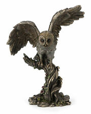 Owl Perching On Branch Spreading Wings Bronze Color Statue Sculpture Figure