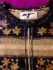 Crop Wool Blend Women's Sweater Blue/Beige/Gray W/LOVELY FORAL STRIPE, L, NWOT