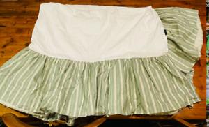 Ralph Lauren Vintage 1980's Caulfield Sage Green Striped Twin Bedskirt