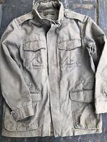 GAP Military Field Utility Jacket Hood Coat Olive Green Mens Large Vintage Style