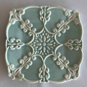 Jeanette Adams For Silvestri Bisque Blue Cream Decorative Porcelain Square Plate