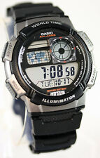 Casio AE-1000W-1BV Digital Map Watch 10 Year Battery World Time 5 Alarms New