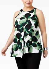 Alfani Women's Plus Size Printed Draped Top, Green/White,Size:20W    MSRP:$85.50
