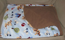 JUST BORN BABY BOY BLUE BLANKET PUPPY DOG PAWPRINT PAW PRINT DOGHOUSE HOUSE BALL