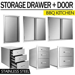 NEW OUTDOOR KITCHEN / BBQ ISLAND STAINLESS STEEL DOUBLE ACCESS DOOR + Drawer