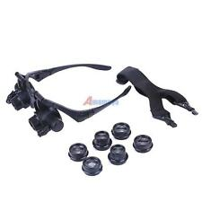 Double Eye Jewelry Watch Repair Magnifier Loupe Glasses With LED Light TDD#