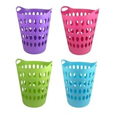 Laundry Basket Home Clothes Washing Large Flexible Tall Plastic 4 Colours