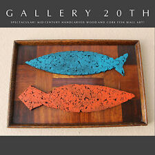 RARE! MID CENTURY MODERN ABSTRACT TEAK & CORK FISH WALL ART! Atomic 50's 60s Vtg