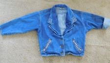 YES Clothing Co. Womens 1980's Studded DENIM Jean Jacket SIZE M ~Free Shipping