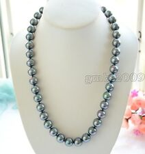 """18""""LONG 10mm Peacock Black Round SOUTH SEA SHELL PEARL NECKLACE AAA"""