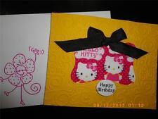 Handmade Happy Birthday Card Hello Kitty Using Stampin Up Darice Frame Ribbon